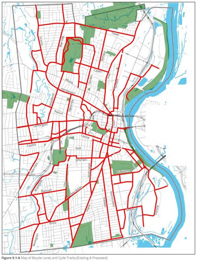 Proposed bike route network in Hartford's zoning, Chapter 9.